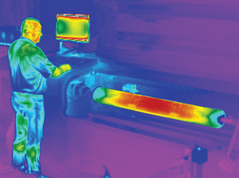 infrared image of a sleeve on the printer