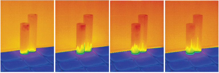 These four thermographic pictures, taken in three minute intervals, depict sleeves being placed on a cold warehouse floor. Notice how, within three minutes,  the bottoms of the sleeves start to get colder